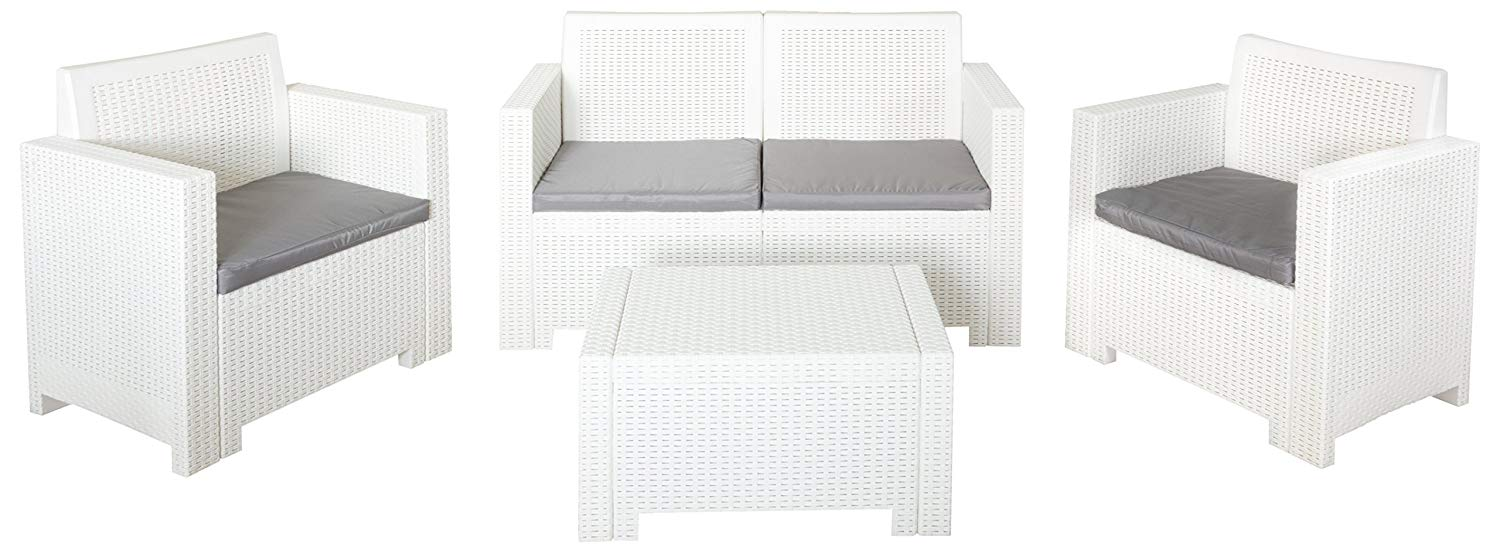 Bica 9027 Set Alabama 2 Salottini in resina in kit colore Bianco 119x74x57 cm